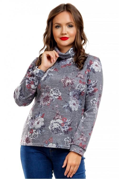 Водолазка серая с цветочным принтом Liza-fashion