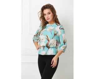 Блузка на резинке бирюзовая Valentina