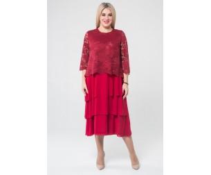 Платье 1074 бордовое Luxury Plus