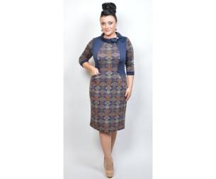 Платье темно-синее с орнаментом Avrora