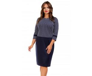 Платье с отрезной линией талии темно-синее Liza-fashion