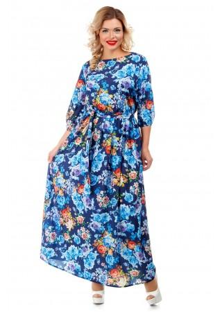 Платье макси синее с цветочным…