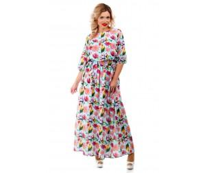Платье макси голубое с цветочным принтом Liza-fashion