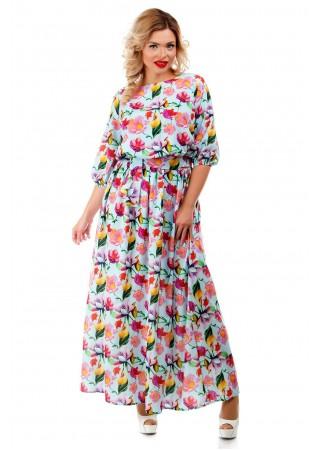 Платье макси голубое с цветочным…