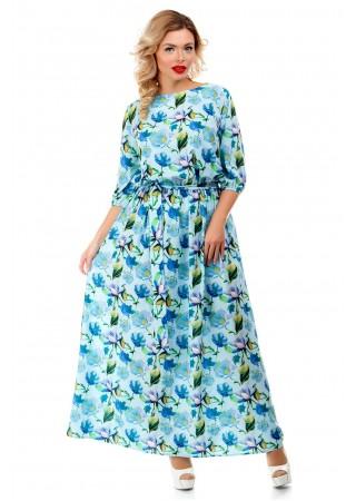 Платье макси голубое с принтом…