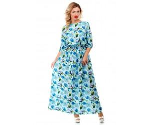 Платье макси голубое с принтом Liza-fashion