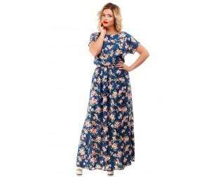Платье хлопковое синее макси Liza-fashion