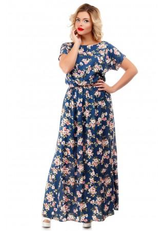 Платье хлопковое синее макси…