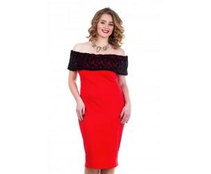 Платье коктейльное красное Liza-fashion