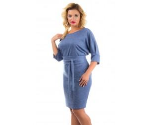 Платье с рукавом летучая мышь голубое Liza-fashion