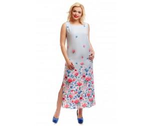 Платье серое с купонным принтом Liza-fashion