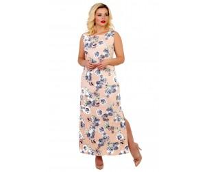 Платье хлопковое персикового оттенка Liza-fashion