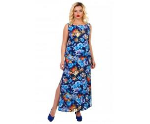 Платье длинное с цветочным принтом Liza-fashion