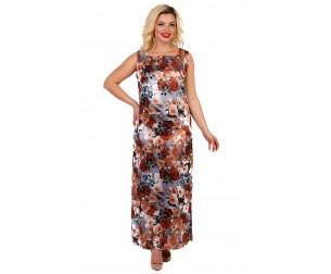 Платье атласное с цветочным принтом Liza-fashion