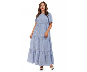 Платье длинное голубое с принтом Liza-fashion