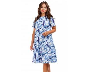 Платье-трапеция с бело-голубым принтом Liza-fashion