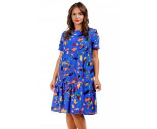 Платье-трапеция синее Liza-fashion