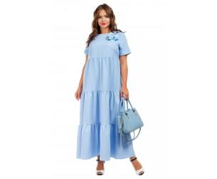 Платье длинное голубое Liza-fashion