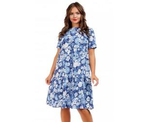 Платье-трапеция с цветочным принтом Liza-fashion