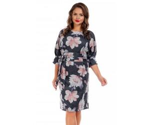 Платье темно-серое с крупным цветочным принтом Liza-fashion