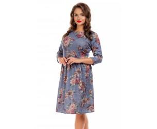 Платье серо-голубое с цветочным принтом Liza-fashion