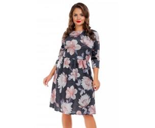 Платье серое с цветочным принтом Liza-fashion