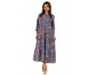 Платье длинное серо-голубое с цветочным принтом Liza-fashion