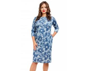 Платье трикотажное с цветочным принтом Liza-fashion