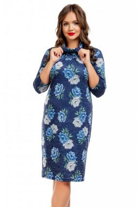 Платье темно-синее с цветочным принтом Liza-fashion