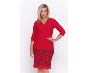 Красное платье с купонным принтом Valentina