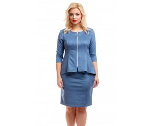 Юбка замшевая серо-голубая Liza-fashion
