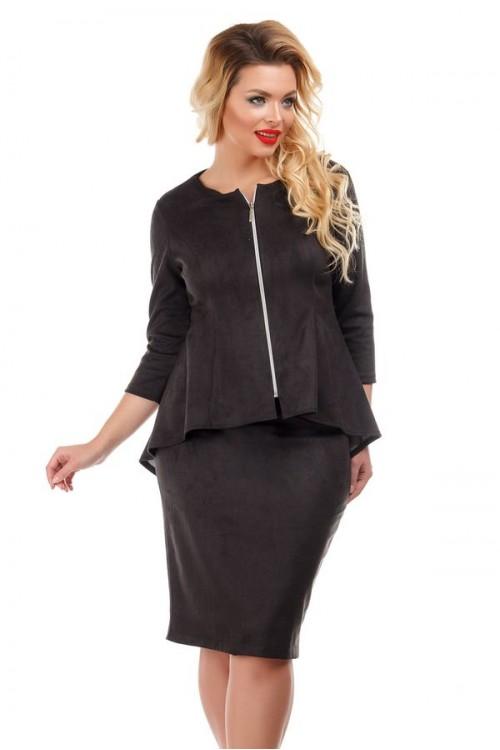 Юбка замшевая черная с застежкой на молнию Liza-fashion