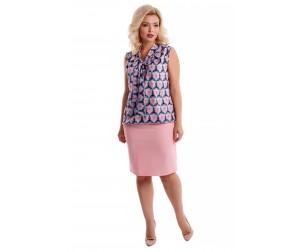 Юбка хлопковая розовая Liza-fashion