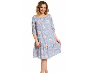 Платье 885 цветы на голубом Novita